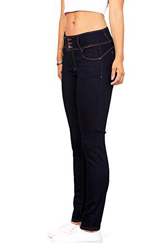 Wax Women's Juniors Body Flattering Mid Rise Skinny Jeans (3, Super Dark)