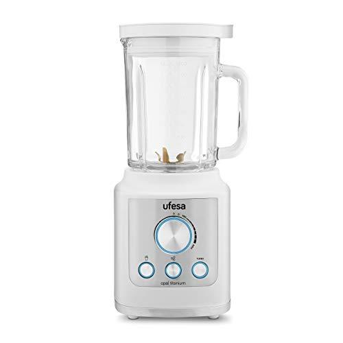 UFESA BS4950 - Frullatore Opal Titanium in vetro, Capacità 1.8 L, 1800 W (Potenza Max fino a 2100 W) , Tritaghiaccio, Smoothie, Funzione Turbo. BPA Free