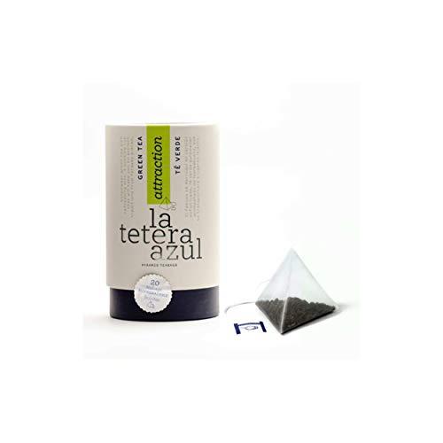 LA TETERA AZUL Premium Grüntee-Schießpulver mit Pfefferminze.Marokkanischer maurischer arabischer grüner Tee.Topf mit 20 Pyramiden.