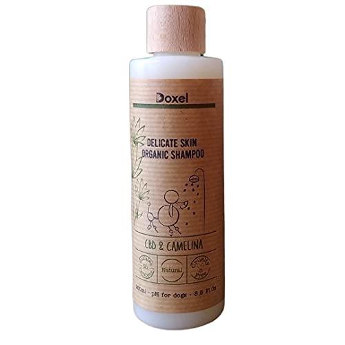 Doxel | Champú Perros Delicate Skin |con CBD y Aceite de Camelina | Especial Pieles delicadas | Hipoalergénico | Ingrediente Naturales |Alivia Picores | Todas Las Razas y Edades | 250 ml