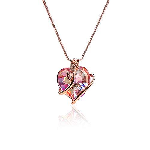 LEKANI Collares Mujer Colgante Corazon ''Eterna Amor'' con Cristal de Austriacos, Joyas Mujer Plata Regalos Originales para Mujer Madre Mamá Abuela Amigas Parejas