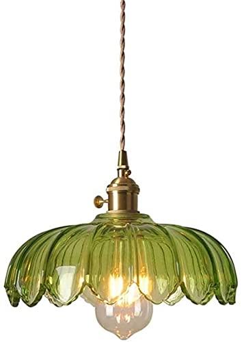Colgante de luz American Country Nostálgico Restaurante de jardín Lámpara de jardín Vintage Industrial Colgante Luz de luz Pure Copper Green Glass Retro Estilo Chandelier Colgante de techo Iluminación