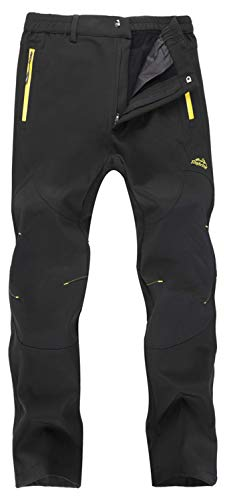 Singbring Women's Outdoor Fleece Waterproof Ski Snow Hiking Pants W33-W35 X-Large Black(01F)