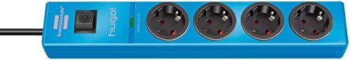 Brennenstuhl hugo regleta enchufes con 4 tomas y protección sobretensiones hasta 19.500A (cable de 2m de largo, interruptor, protección antirayos, montable) azul