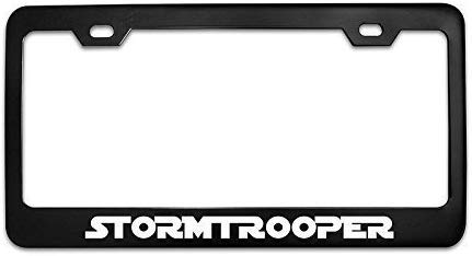 POGRTM Stormtrooper Star Wars Chrome Aluminum Alloy Black License Plate Frame Covers Metal Tag Holders 12' X 6'