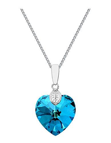 Cuore * * * * 18mm * BERMUDA Blue * Con argento collana in argento 925con ciondolo originale Swarovski Elements, collana con gioielli, con custodia, ideale come regalo per signora o ragazza