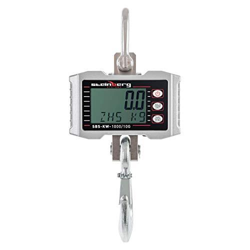 Steinberg Systems - Kranwaage Hängewaage (1.000 kg / 0,5 kg, Aluminiumdruckgussgehäuse, LED-Display, Edelstahl + Fernbedienung) Silber
