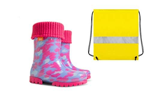 Demar rubberen laarzen kinderen regenlaarzen kinderlaarzen gevoerd met binnensokken meisjes roze harten + schoenzakje neongeel