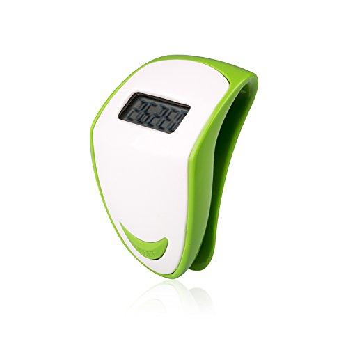 Incutex Schrittzähler, Pedometer, Stepcounter, Kalorienmesser, Schrittmesser, Entfernungsmesser, Grün – Weiß
