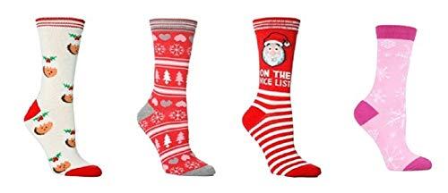4 Paar Weihnachtssocken 37-42 EUR Weihnachten Pudding, Schneeflocken, Bäume, Weihnachtsmann, Rosa