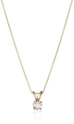 Collar con colgante de diamante de corte redondo de oro de 14 quilates (color J-K, claridad I2-I3)