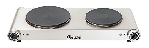 Bartscher BA.A150.310 Réchaud Électrique avec 2 Plaques Acier Inoxydable 53,5 x 22,5 x 9 cm