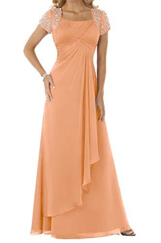 HUINI Abendkleid Chiffon Lang Brautmutterkleid Empire Ballkleid Festkleid mit Ärmel Hochzeitskleid Partykleid Orange 46