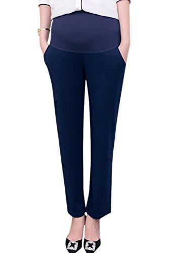 XFentech Femmes Automne Élégant Pantalons de Maternité Coton Couleur Unie Grossesse Travail Un Pantalon, Bleu foncé/XL