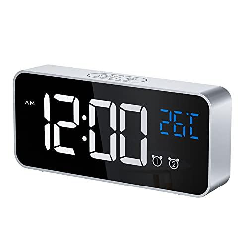 CHEREEKI Reloj Despertador Digital, Despertador Alarma Dual Digital Alarm Clock con Temperatura, 4 Brillo Ajustable Función Snooze, Puerto de Carga USB, 12 24 Horas, 16 música (Plata)