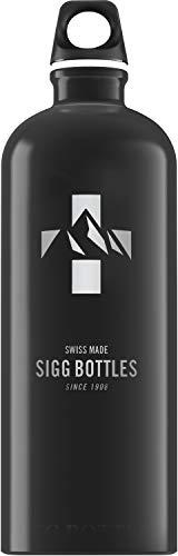 SIGG Mountain Black Botella cantimplora (1 L), botella con tapa especialmente hermética sin sustancias nocivas, botella de aluminio ligera