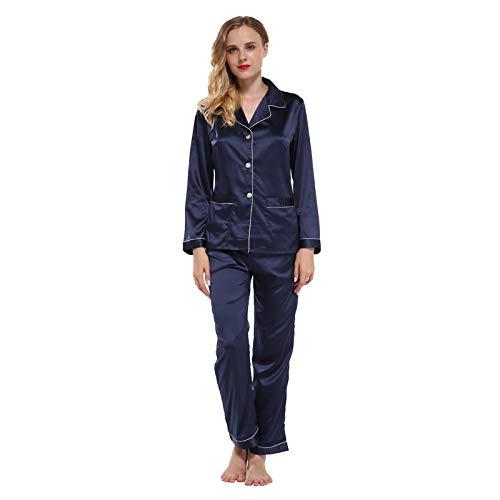 LEYUANA Conjuntos de Pijamas de Dos Piezas, Conjunto de Pijamas de satén para Mujer con Bolsillos Home Wear XL blueset