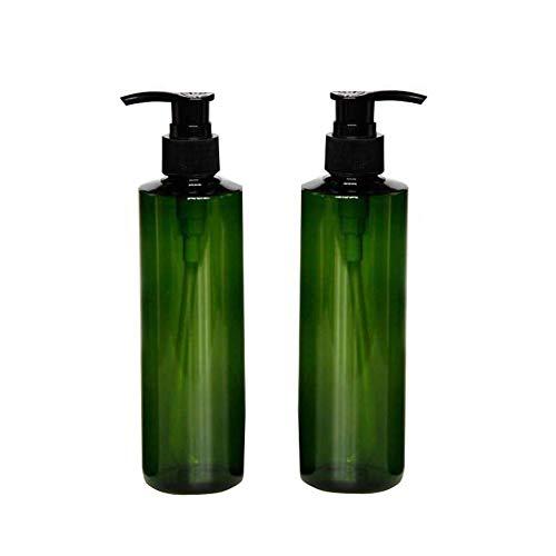 2 botellas de plástico de 250ml botellas de plástico con bomba negra de maquillaje vacío envases de artículos de tocador para champú acondicionador de pelo gel de ducha dispensadores de lociones Verde
