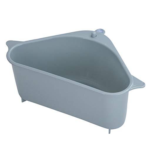 Cesta de drenaje triangular para fregadero de cocina, fregadero de cocina, colador de esquina, colador con ventosa para cocina y baño 1 unidad azul