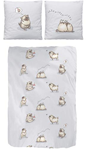Dobnig beddengoed voor honden 135 x 200 cm, beddengoed van 100% katoen, knuffelig beddengoed met mopsmotieven, flanellen beddengoed 135 x 200 cm & kussen 80 x 80