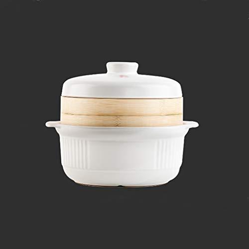hongbanlemp Vaporeras para ollas Cacerola Vapor de Gran Capacidad Crisol de guisado de Vapor Capa 2 crisol de cerámica del hogar Artículos for cocinar al Vapor Vaporera