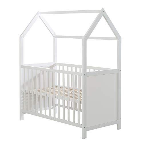 roba Hausbett 60 x 120 cm, Baby- & Beistellbett in Hausoptik,weiss, 3-fach verstellbar, umbaubar, grau,