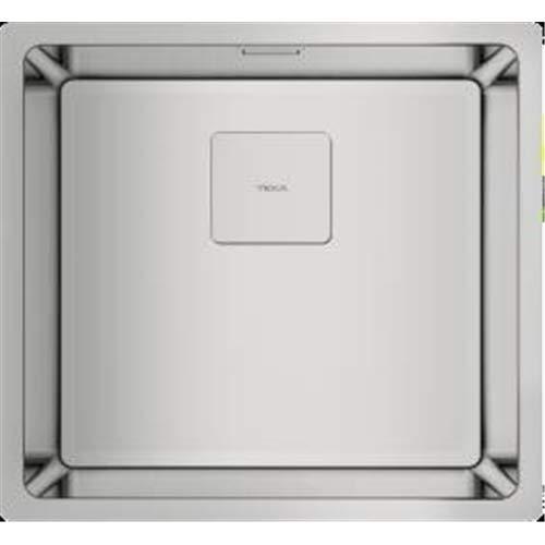 Teka 115000014 - Fregadero de cocina de acero inoxidable con un solo cuenco FLEXLINEA RS15 40.40 31⁄2 SQ W/OVF SP-115000014, color gris
