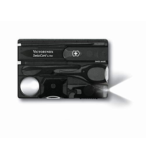Victorinox Taschenmesser Swiss Card Lite (13 Funktionen, LED-Licht, Lupe) schwarz transparent