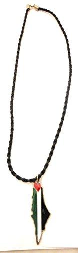 Unisex-handgemachte Souvenir schwarz Metall Palästina-Flaggen-Karte Halskette palästinensischen Geflochtene Mode-Kette