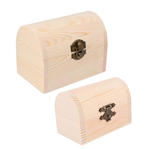 ARTIBETTER 2Pcs Small Wooden Box Light Unfinished Wood with Clasp for Gift Jewelry Photo Storage (Arch)