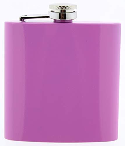 MCK-Handel Petaca de bolsillo, petaca de acero inoxidable, color rosa brillante, 6 onzas, para alcohol, whisky/vodka/ginebra, lila y rosa