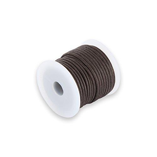 Auroris 10m Rolle Baumwollband rund 2mm Farbe: braun