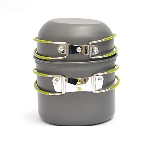 AOKASIX Batería de Cocina para Camping, Aluminio anodizado Sartén (Tapa), Olla y Bolsa de Malla - Ligera y compacta con Asas Plegables de Silicona, para Camping Senderismo excursión