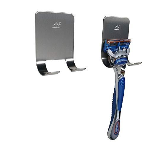 FOONEE 2 x Rasierer-Halter, Edelstahl, Mehrzweck-Haken, selbstklebend, Rasierer, Steckhaken, robust, für Badezimmer und Küche