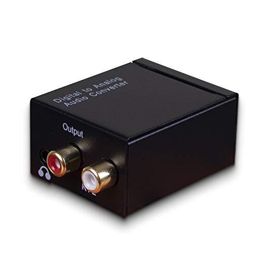 BRANDIING Convertidor de audio digital analógico, cable coaxial 96 KHz L/R, adaptador óptico RCA con jack de 3,5 mm