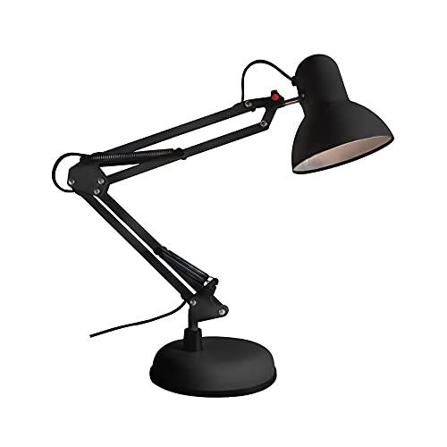 Wonderlamp - Flexo Negro articulado Avati, Lámpara Escritorio retro-vintage, Cuerpo y cabezal Articulable, Bombilla 1xE27