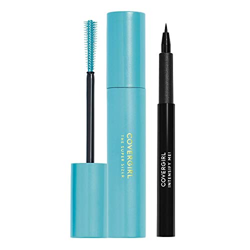 Covergirl Super Sizer Mascara and Intensify Me Eye Liner, Very Black and Intense Black, Value Pack