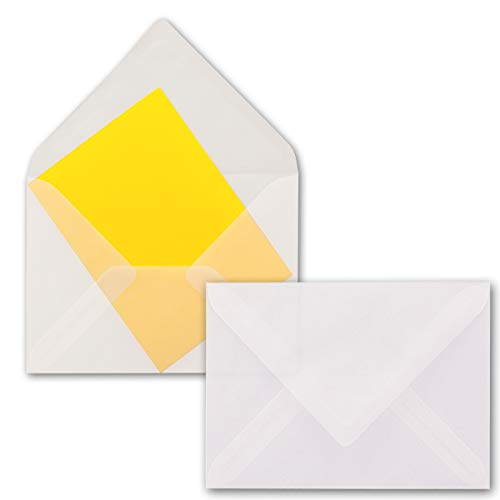 Neuser - Buste da lettera DIN B6, bianco trasparente, 125x 176mm, con lembo a punta adesivo 25 pezzi Bianco/Trasparente