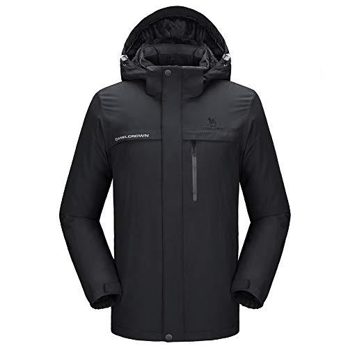 CAMEL CROWN Men's Mountain Snow Waterproof Ski Jacket Detachable Hood Windproof Fleece Parka Rain Jacket Winter Coat (Dark Black, Medium)