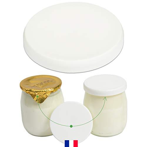 Monboco | Tapas universales para Envases de Yogurt | diámetro 56mm | Blanca | Material de PEHD | Lote de 30 | Compatible con los productos lácteos | cumplen con las Normas de Conservación de Alimentos
