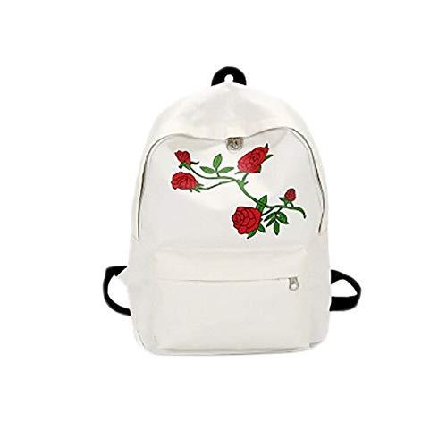 YYZCKW Mochila De Lona con Forma De Corazón para Hombre Mochila para Dama Mochila para Adolescentes con Bordado Rosa Mochila para Mujer con Bolsa De Viaje S M Blanco