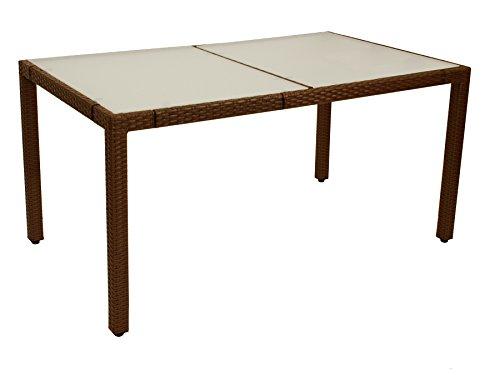 DEGAMO tuintafel MONTREUX 90x150cm, metaal + vlechtwerk bruin, tafelblad glas