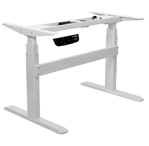 Exeta Elektrisch höhenverstellbarer Schreibtisch (Vers. 2021) mit 2 Motoren,3-fach-Teleskop,Memory-Funkt./Softstart/-Stopp, elektrisch höhenverstellbares Tischgestell weiß