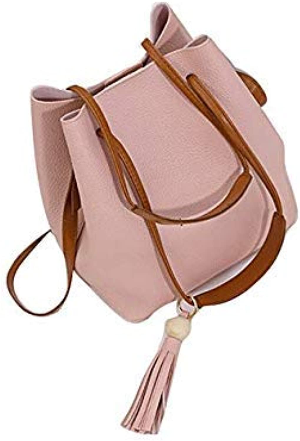 Bloomerang Fashion Women Leather Tassels Single Shoulder Bucket Bag+Clutch Bag 1Set Convenient and Simple Bag Bags for Women Handbag 0810 color Pink