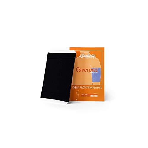 Linphelle Coverpicc in Microfibra, Fascia Copri Catetere Braccio in Tessuto Traspirante e di Design, Ideale per PICC e Glucometri, Colore Nero, Taglia 1