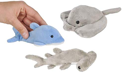 Three (3) Adorable Mini SEA LIFE 5' Plush - STINGRAY - Hammerhead SHARK - DOLPHIN - Toys Ocean FISH - Under the Sea PARTY FAVORS BEANIE Stuffed Animals STOCKING Stuffers GIFTS Fish