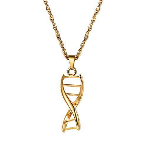 PROSTEEL Damen Herren Anhänger 18k vergoldet DNA-Doppelhelix Wissenschaft Molekül Halskette chemische Struktur Modeschmuck
