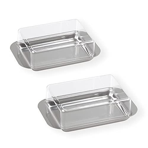 chg Kühlschrank-Butterdose aus rostfreiem Edelstahl mit Klarsichtdeckel, Kunststoff, Silber, 15 x 9,5 x 4,5 cm