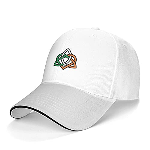 Celtic Knot Irish Baseball Cap,Casquette Stylish Casquette, Adjustable Dad Hat for Men Women Outdoor Activities White