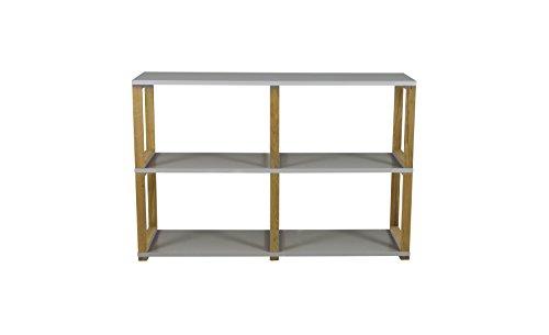 Tenzo 2322-012 Art Designer Regal/Raumteiler, Spannplatte/Massiv Eiche, Grau / Eiche, 120 x 36 x 80 cm